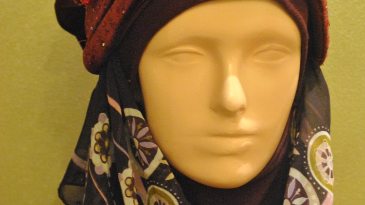 Hijab with Red Hat Style
